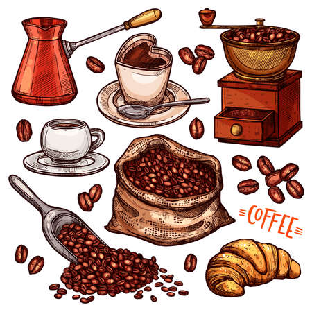 Coffee Color Hand Drawn Collection. Vector Sketch Illustration Set With Turk, Cups, Coffee Bag With Beans, Croissant, Coffee Mill