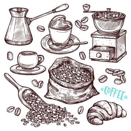 Coffee Hand Drawn Collection. Vector Sketch Illustration Set With Turk, Cups, Coffee Bag With Beans, Croissant, Coffee Mill