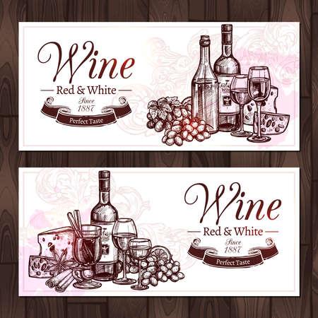 Conjunto de dibujo de vino tinto y blanco. Diseño de banners horizontales con vino, botellas, copas de vino, queso y uvas en estilo dibujado a mano