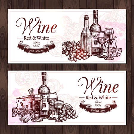 Red And White Wine Sketch Set. Design Of Horizontal Banners With Wine, Bottles, Wineglasses, Cheese And Grapes In Hand Drawn Style Vettoriali