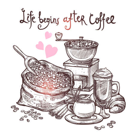 Sketch Coffee Illustration In Monochrome Style. Hand Drawn Still Life With Coffee Mill, Cup, Latte, Croissant, Cinnamon And Bag With Coffee Beans