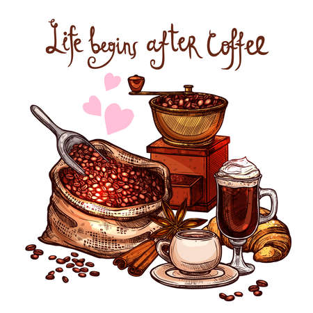 Sketch Coffee Color Illustration. Hand Drawn Still Life With Coffee Mill, Cup, Latte, Croissant, Cinnamon And Bag With Coffee Beans Illustration