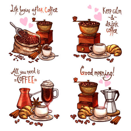 Coffee Hand Drawn Set. Four Color Coffee Still Lifes With Lettering In Sketch Style
