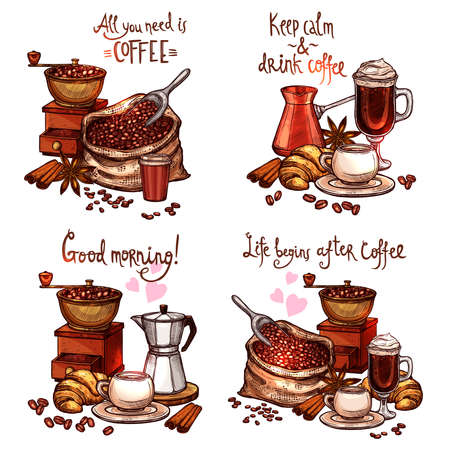 Coffee Sketch Set. Four Color Coffee Still Lifes With Lettering In Hand Drawn Style Vectores