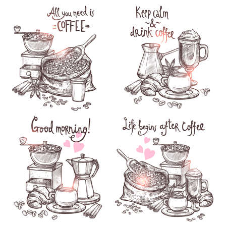 Coffee Sketch Set. Four Monochrome Coffee Still Lifes With Lettering In Hand Drawn Style Vectores