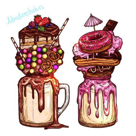 Color Monstershakes In Sketch Style. Freak And Crazy Milkshakes. Hand Drawn Creative Dessert