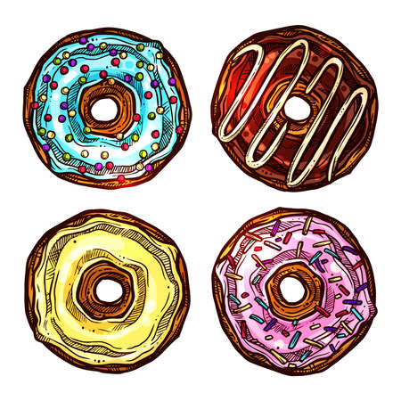 Colorful Set Of Donuts In Sketch Style In Top View. Collection Of Hand Drawn Dessert Illustration