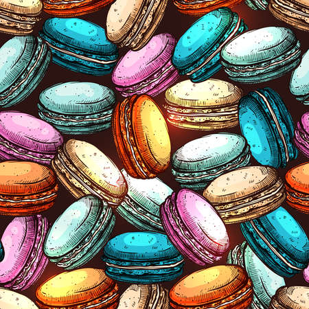 Macaroons Hand Drawn Colorful Seamless Pattern