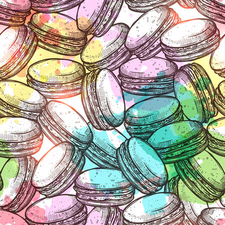 Macaroons Sketch Colorful Seamless Pattern With Watercolor Effect