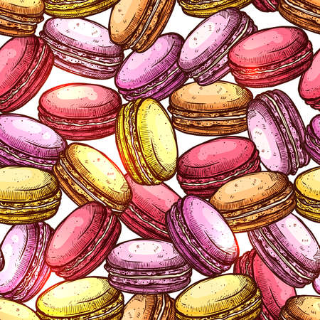 Macaroons Sketch Colorful Seamless Pattern Illustration