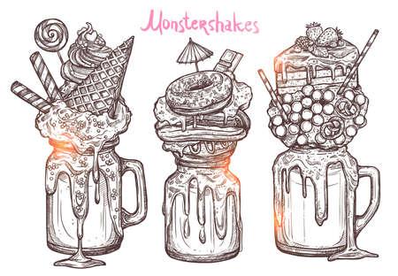 Monstershakes In Grafische Schetsstijl. Freak en gekke milkshakes. Handgetekend creatief dessert Vector Illustratie