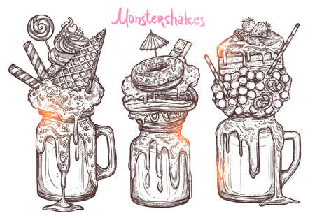 Monstershakes In Graphic Sketch Style. Freak And Crazy Milkshakes. Hand Drawn Creative Dessert 向量圖像