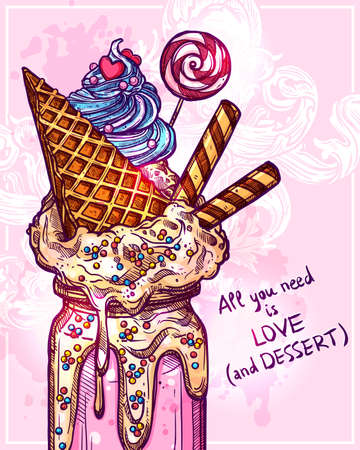 Monstershakes In Sketch Style. Creative Poster With Freak And Crazy Milkshakes And Quote About Dessert