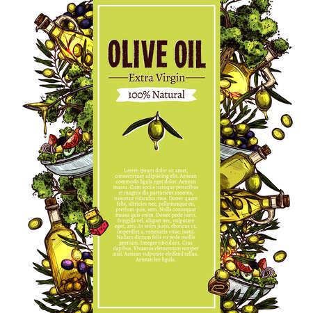 Olive Oil Sketch Banner Design. Hand Drawn Illustration Ilustracja