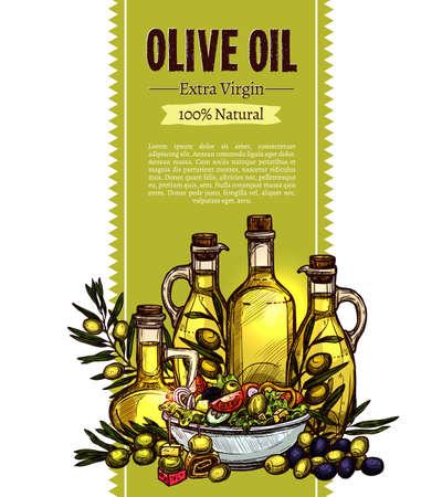 Olive Oil Sketch Design. Hand Drawn Banner