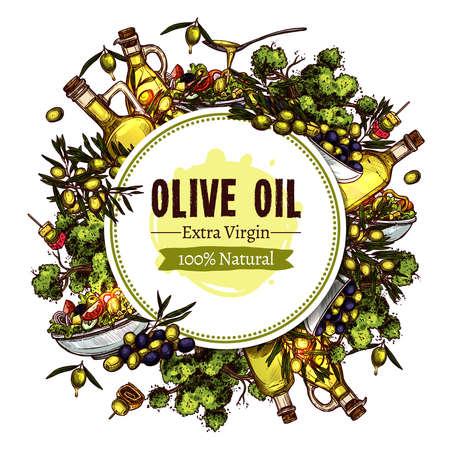 Olive Oil Sketch Round Design. Hand Drawn Colorful Background Zdjęcie Seryjne - 108528219