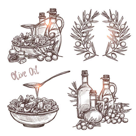 Olive Oil Sketch Set. Four Monochrome Olive Oil Concepts In Hand Drawn Style Ilustracja