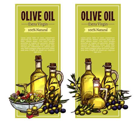Conception de bannière verticale de croquis d'huile d'olive. Illustration dessinée à la main avec nature morte à l'huile d'olive