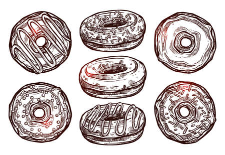 Set Of Donuts In Sketch Style. Collection Of Hand Drawn Dessert