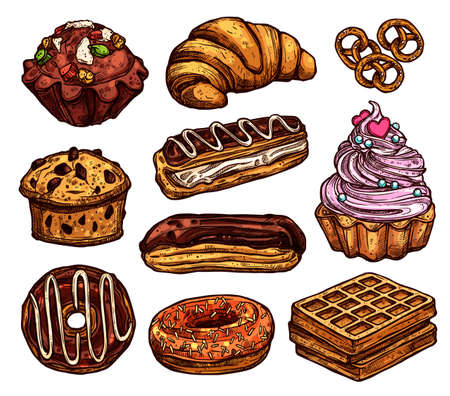Sketch Collection Of Bakery Products, Dessert And Sweets. Hand Drawn Colorful Set With Cake, Cupcakes, Muffins And Waffle