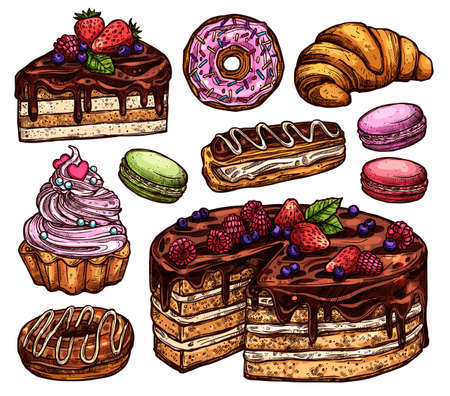Sketch Collection Of Bakery Products, Dessert And Sweets. Hand Drawn Colorful Set With Cake, Macaroons, Croissant, Donuts And Waffle