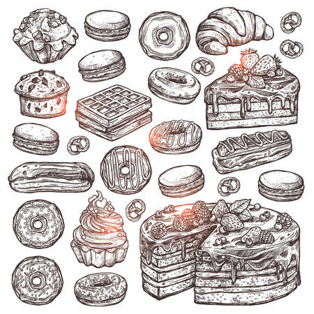 Sketch Collection Of Bakery Products, Dessert And Sweets. Hand Drawn Graphic Set With Cake, Cupcakes, Muffins, Macaroons, Donuts And Waffle Illustration
