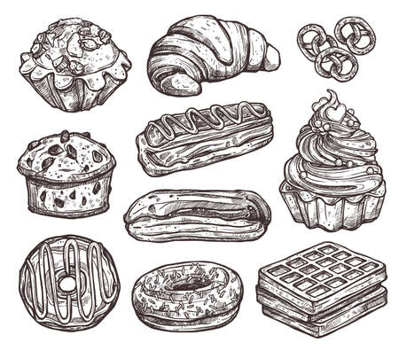 Sketch Collection Of Bakery Products, Dessert And Sweets. Hand Drawn Monochrome Set With Cake, Cupcakes, Muffins And Waffle