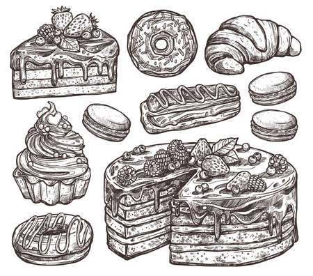 Sketch Collection Of Bakery Products, Dessert And Sweets. Hand Drawn Monochrome Set With Cake, Macaroons, Croissant, Donuts And Waffle Illustration