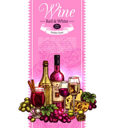 Wine Sketch Design. Hand Drawn Vertical Banner