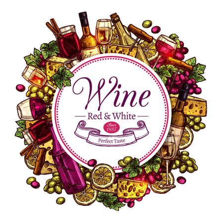 Design rotondo di schizzo di vino. Sfondo colorato disegnato a mano Vettoriali