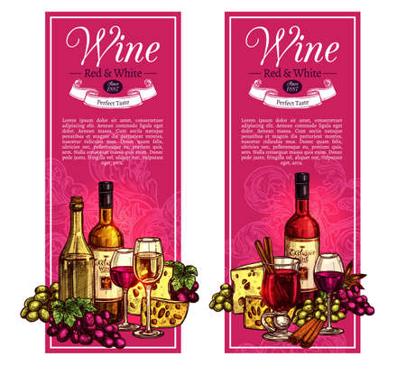 Wine Sketch Vertical Banner Design. Hand Drawn Illustration With Red And White Wine