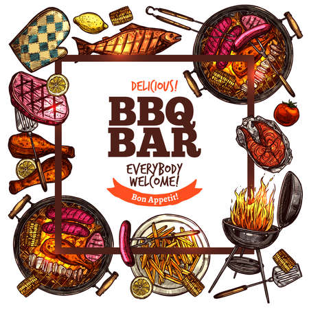 Hipster Square Frame Bbq Grill Bar vector illustration