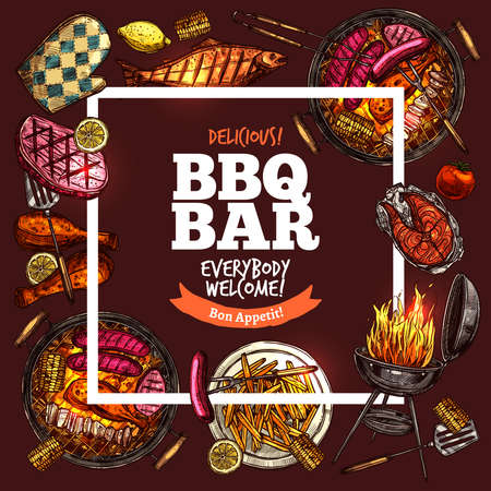 Bbq Grill Bar With Square Frame On Brown vector illustration Illustration