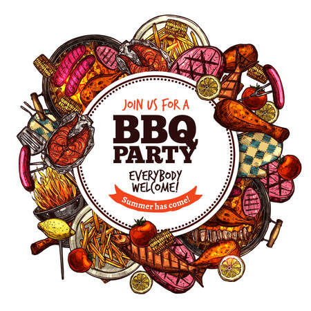 Bbq Grill Party Color Sketch Hand Drawn Round Label vector illustration