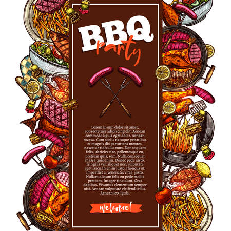 Bbq and grill background with barbecue party invitation Illustration