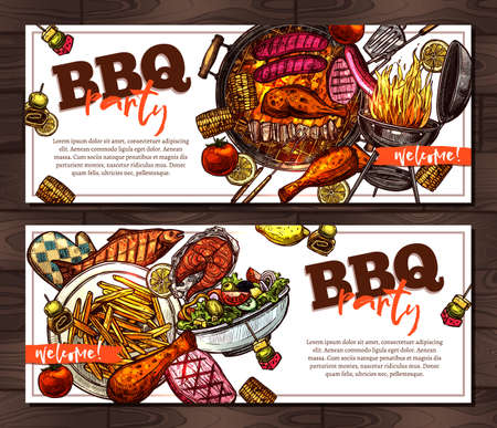 Bbq and grill horizontal banners with barbecue party invitation