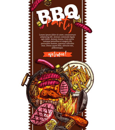 Bbq and grill vertical banner with barbecue party invitation