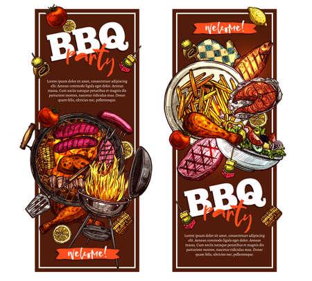 Bbq e grill banner verticali con invito a una festa barbecue Vettoriali