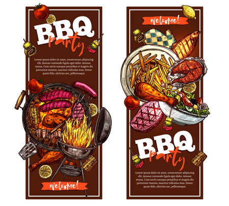 Bbq and grill vertical banners with barbecue party invitation