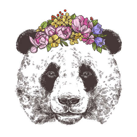 Sketch of giant panda with flower wreath. Monochrome style Illustration