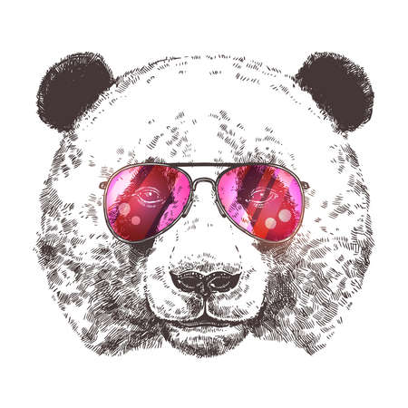 Sketch Of Giant Panda With Sunglasses. Hand Drawn Head In Monochrome Style