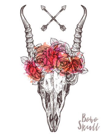 Hand Drawn Antelope Skull With Flower Crown. Hand Drawn Vintage Pattern With Hipster And Rustic Style