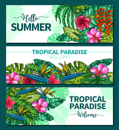 Hand Drawn Bright Typical Summer Horizontal Banners. Sketch Design With Tropical Plants And Flowers
