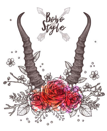 Hand Drawn Floral Antler. Sketch Illustration With Hipster And Rustic Style With Antelope Horns And Flowers