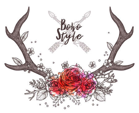 Hand Drawn Floral Antler. Sketch Illustration With Hipster And Rustic Style