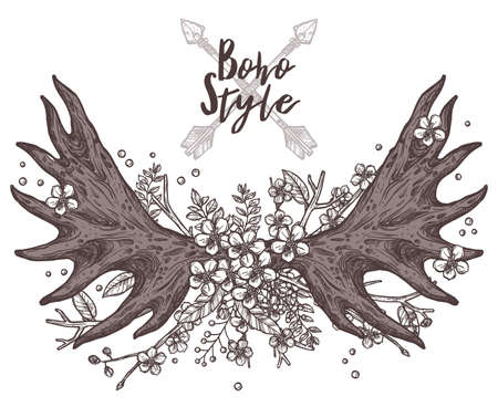 Hand Drawn vintage Floral Antler. Hipster And Rustic Style Illustration