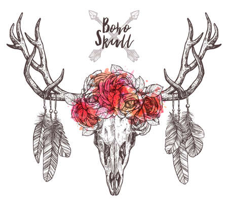 Sketch Of Deer Skull With Tribal Arrows, Feathers And Flower Crown. Hand Drawn Illustration Of Hipster And Rustic Style Illustration