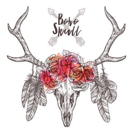 Sketch Of Deer Skull With Tribal Arrows, Feathers And Flower Roses. Hand Drawn Illustration Of Hipster And Rustic Style Illusztráció