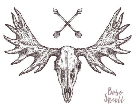 Croquis de crâne d'élan avec des flèches tribales. Illustration dessinée à la main Boho et Hipster. Dessin anatimique du crâne avec des cornes Vecteurs