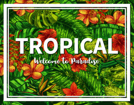 Stylish And Trendy Typographical Summer Poster. Sketch Hand Drawn Design With Tropical Plants And Flowers